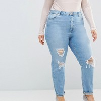 ASOS CURVE FARLEIGH High Waist Slim Mom Jeans in Miracle Light Wash with Rips at asos.com