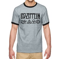 Rock And Roll Led Zeppelin Cool T Shirt Men 2017 Summer Ringer Tee Shirt 100% Cotton Hip Hop T-Shirt Punk Streetwear Tops Tees