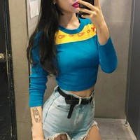 2017 new style women's wear autumn winter jacket flame printing stitching, hit color exposed navel self-cultivation long sleeved T-shirt   171117