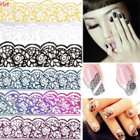 Stickers for Nails Beauty Design Nail Stickers Lace 3D Nail Art Water Decals Manicure Lace Nagel Stickers Adhesive Foil Nail Beauty SV028528