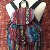 Tribal Boho Backpack Festival Hmong Hill tribe ethnic ikat Styles Fabric Woven design Overnight travel bag Hippies Gypsy hipster Red