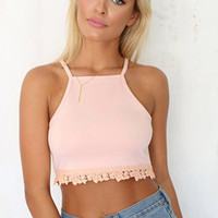 Pink Zipper Strappy Alencon Lace Crop Top