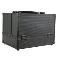 """Makeup Case, Cosmetic Case. Professional Makeup Train Case in Diamond Black. Aluminum Utility Case with Extendable Trays to Organize & Transport Make-Up Brushes, Tools & Accessories. (4 Inner Trays Dimension: 7.75"""" X 5.5"""" X 1.75"""". Center Compartment Dimens"""