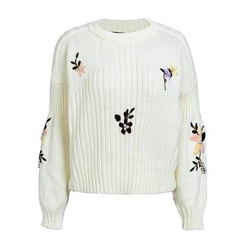 Embroidery Thick Knit Sweater