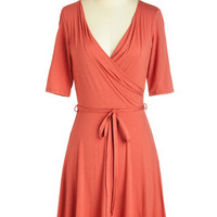 ModCloth Short Length 3 Wrap Easygoing Inspiration Dress in Coral