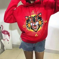 GUCCI Cool Embroidery cat hoodie H-ALG-CPFS