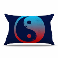 """Federic Levy-Hadida """"Ying Yang Surfers"""" Red Blue Pillow Case"""