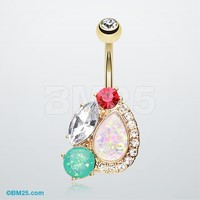 Golden Sparkle Opal Medley Belly Button Ring