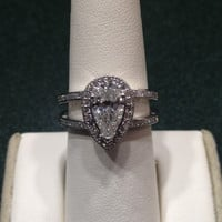 Cubic Zirconia Engagement Ring- 2.10 TCW Pear Cut Halo with Split Band