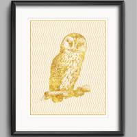 Owl Printable in Gold