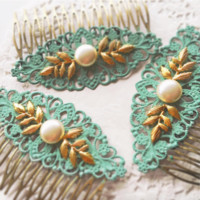 Rococo Chic - Mint Bridal Hair Comb Pearl and Gold Leaves Hair Slide