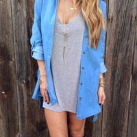 Chambray Oversized Boyfriend Tunic - FINAL SALE