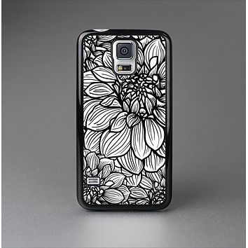 The White and Black Flower Illustration Skin-Sert Case for the Samsung Galaxy S5