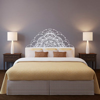 Half Mandala Wall Decal- Headboard Wall Decal- Half Mandala Window Laptop Decal Zen Decor- Flower Mandala Vinyl Decal Bedroom Decor C132