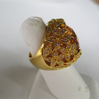 Citrine and Rhinestones Cocktail Ring Size 7 Vintage