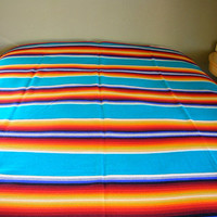 Pendleton Beaver State Wool Blanket Western Banded Striped Serape Trade Blanket TURQUOISE Twin Full Queen from The Back Part of the Basement