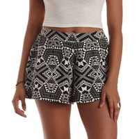 Black/White Geometric Print High-Waisted Shorts by Charlotte Russe