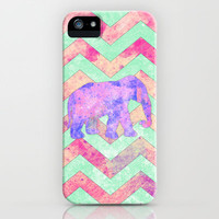 Whimsical Purple Elephant Mint Green Pink Chevron iPhone Case by Girly Trend