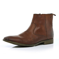 Brown Base distressed pointed ankle boots - shoes / boots - sale - men