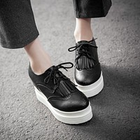 Women Wedges Tassel Lace Up Platform Shoes