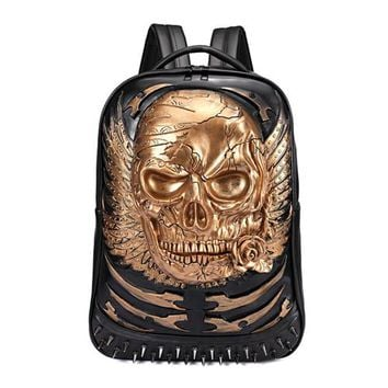 Cool Backpack school Cool Personality Backpack PU Mochila Skull Element 3D Daypack AT_52_3
