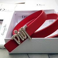 Dior hot sale new CD letter diamond buckle fashion ladies pure color personality belt men