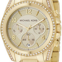 Michael Kors Gold Tone Link Bracelet & Crystals MK5166 Watch