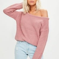 Missguided - Pink Off Shoulder Cropped Sweater