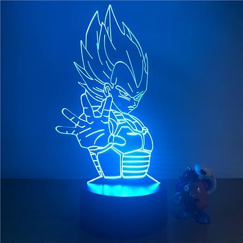 3D LED Night Light Dragon Ball Z Vegeta Super Action Figure 7 Colors Touch Optical Illusion Table Lamp Home Decoration Model