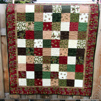 Winter's Song Christmas Quilt Handmade Holly Berries and Leaves