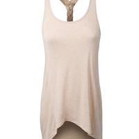 LE3NO Womens Lightweight Loose Braid Center Back Tank Top (CLEARANCE)