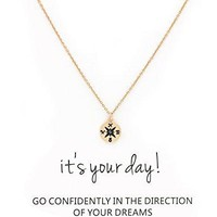 AUGUAU Zealmer Friendship Infinity Compass Necklace Good Luck Small Elephant Necklace with Message Card