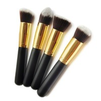 BESTOPE Premium Synthetic Kabuki Makeup Brush Set Cosmetics Foundation Blending Blush Eyeliner Face Powder Brush Makeup Brush Kit (4PCS Black Gold):Amazon:Beauty