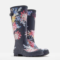 Printed Navy Whitstable Floral Rain Boots   Joules US