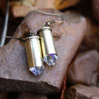 Bullet jewelry, 32 caliber brass bullet earrings with clear Swarovski crystals, bullet earrings, country girl, wedding party