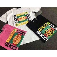 """Gucci"" Women Casual Fashion Letter Panda Print Short Sleeve T-shirt Top Tee"