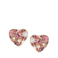 River Island Pink And Crystal Encrusted Heart Studs