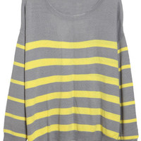 ROMWE   Loose Contrast Color Stripes Grey Jumper, The Latest Street Fashion