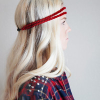 Double Strand Headband Double Braid Hair Band Hippy Style Boho Music Festival Hairwrap in Cranberry Red