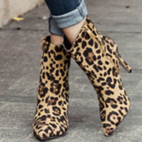 Women's new popular leopard print high-heeled boots