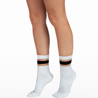White Ankle Stripe Socks
