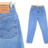 """Size 8 / 9 90s Levi's 550 High Waisted Mom Jeans - Stone Washed Medium Blue Denim Relaxed Fit Tapered Leg Women's Jeans - 28"""" Waist"""