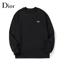 Dior autumn and winter fashion casual high-density embroidery cotton round neck sweater Black