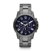 Fossil Grant Chronograph Black Dial Smoke Ion-plated Watch FS4831