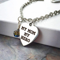 Stainless Steel Bracelet - Mom Birthday Gift - Mothers Day Jewelry - My Mom My Hero Charm - Mom From Daughter - Mom From Son - Gift Idea