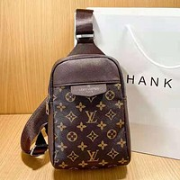 LV Louis Vuitton new letter print mens and womens shopping shoulder bag messenger bag Coffee