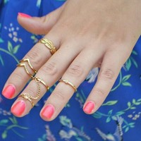 New 1 Set Cute Personality Leaf Knuckle Midi Mid Finger Tip Stacking Chain Rings [7862884103]