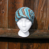 Womens Turquoise and Brown Crochet Beanie with flower detail, ready to ship