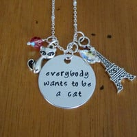 Everybody wants to be a cat necklace. Cat necklace. Silver colored, Swarovski Elements. Aristocratic cats necklace.