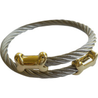 Stainless Steel Twisted Cable Cuff Bracelet- Dog Bone Tips